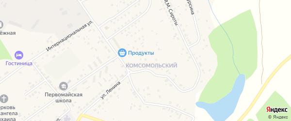 Комсомольский микрорайон на карте Первомайского села с номерами домов