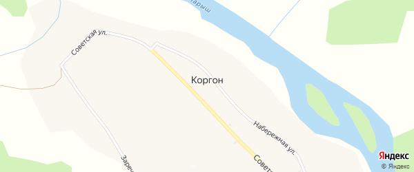 Набережная улица на карте села Коргона с номерами домов