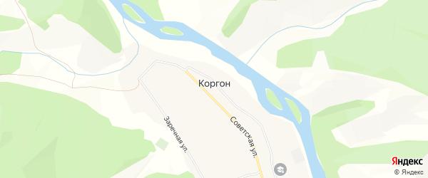 Карта села Коргона в Алтае с улицами и номерами домов