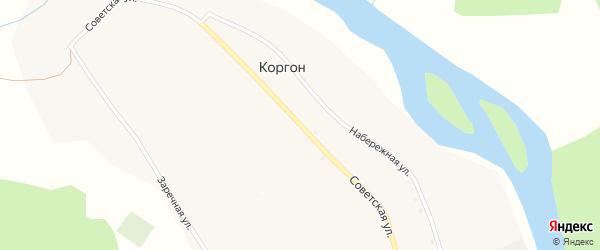 Советская улица на карте села Коргона с номерами домов