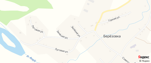 Зелёная улица на карте села Березовки с номерами домов