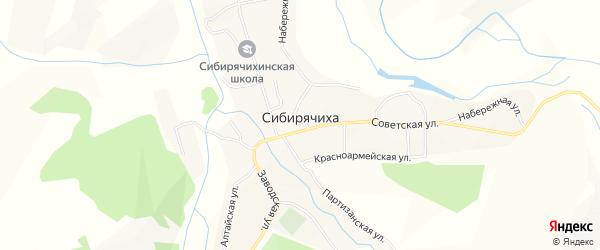 Карта села Сибирячихи в Алтайском крае с улицами и номерами домов