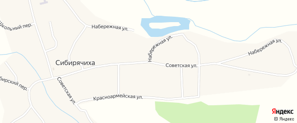 Советская улица на карте села Сибирячихи с номерами домов