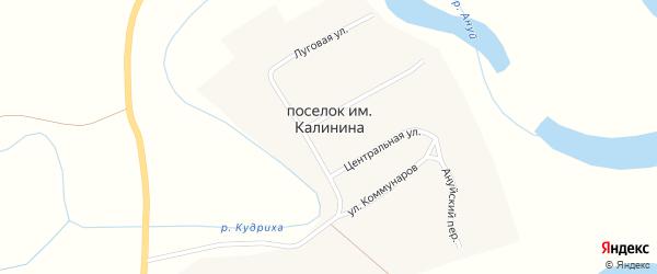 Центральная улица на карте поселка им Калинина с номерами домов