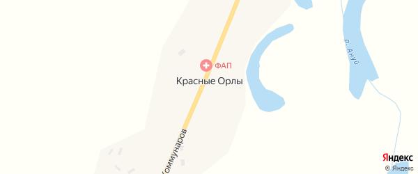 Улица Коммунаров на карте поселка Красные Орлы с номерами домов