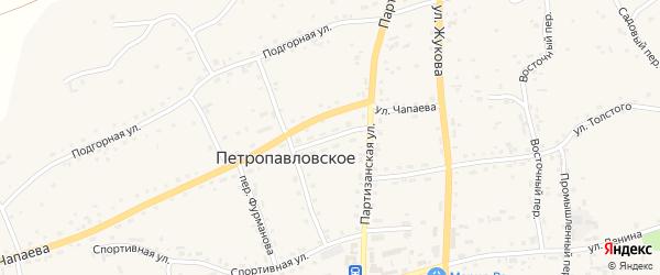 Юбилейный переулок на карте Петропавловского села с номерами домов