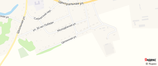 Целинная улица на карте села Алексеевки с номерами домов