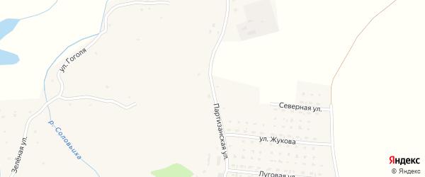Партизанская улица на карте села Алексеевки с номерами домов