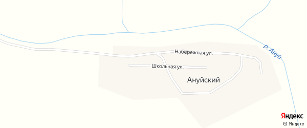 Набережная улица на карте Ануйского поселка с номерами домов