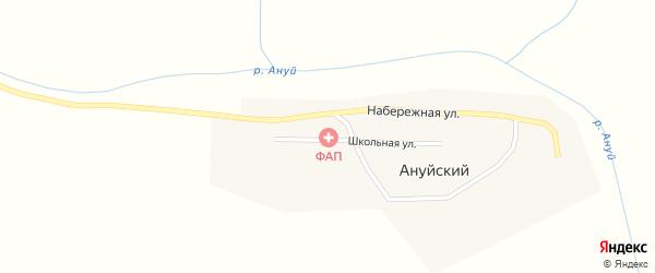 Школьная улица на карте Ануйского поселка с номерами домов