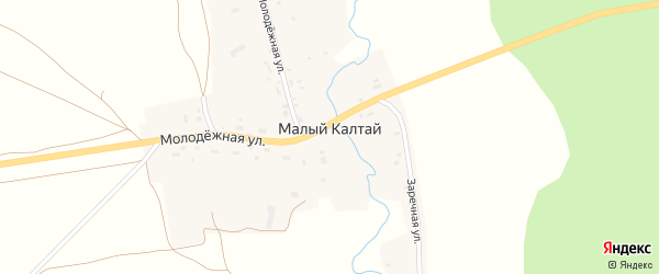 Заречная улица на карте села Малого Калтая с номерами домов