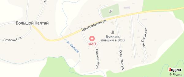 Песчаная улица на карте села Большого Калтая с номерами домов