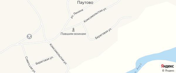 Береговая улица на карте села Паутово с номерами домов