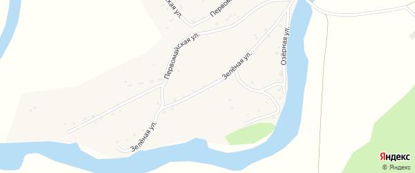 Зеленая улица на карте Верха-Озерного села с номерами домов