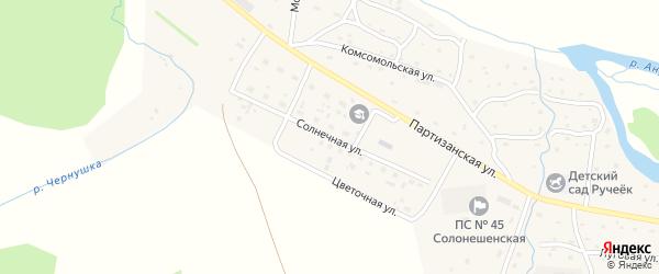 Солнечная улица на карте Солонешного села с номерами домов