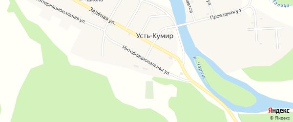 Интернациональная улица на карте села Усть-Кумира с номерами домов