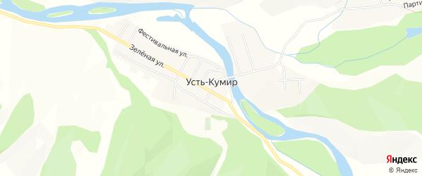 Карта села Усть-Кумира в Алтае с улицами и номерами домов
