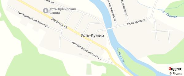 Зеленая улица на карте села Усть-Кумира с номерами домов