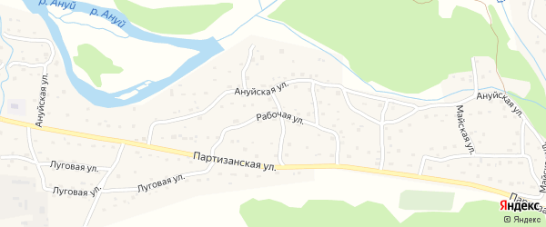 Рабочая улица на карте Солонешного села с номерами домов