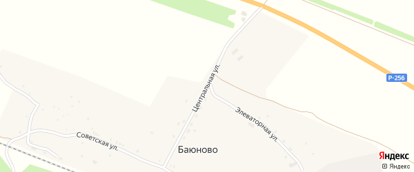 Центральная улица на карте станции Баюново с номерами домов