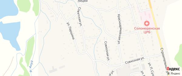 Центральный переулок на карте Солонешного села с номерами домов