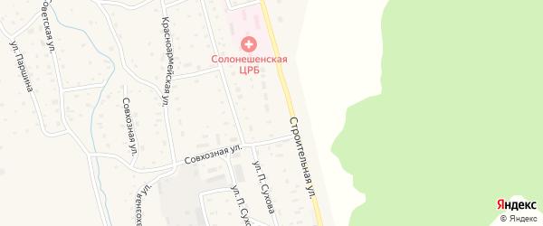 Строительная улица на карте Солонешного села с номерами домов