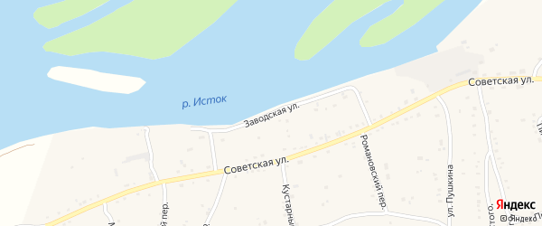 Заводская улица на карте села Быстрого Истока с номерами домов