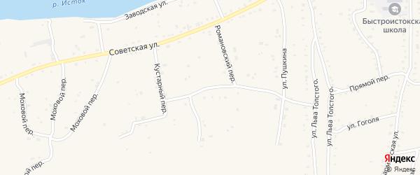 Романовский переулок на карте села Быстрого Истока с номерами домов