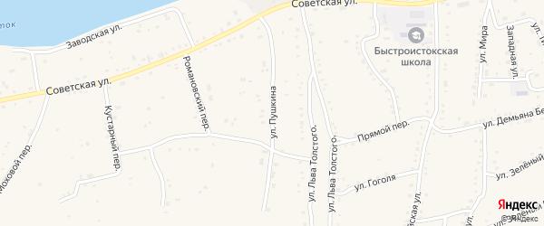 Улица Пушкина на карте села Быстрого Истока с номерами домов
