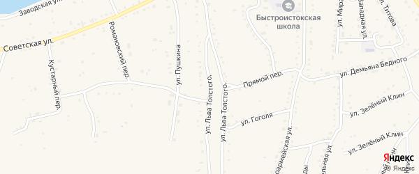 Улица Льва Толстого на карте села Быстрого Истока с номерами домов