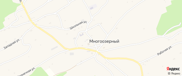 Центральная улица на карте Многоозерного поселка с номерами домов