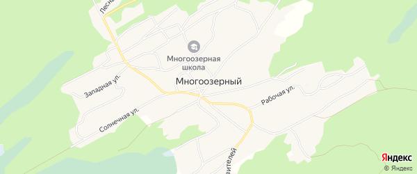 Карта Многоозерного поселка в Алтайском крае с улицами и номерами домов