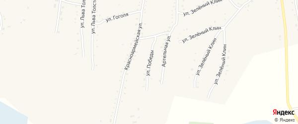 Улица Победы на карте села Быстрого Истока с номерами домов
