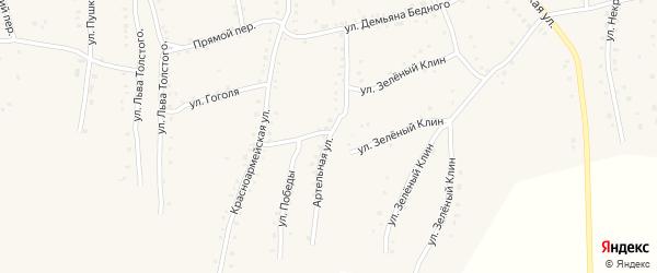 Артельная улица на карте села Быстрого Истока с номерами домов