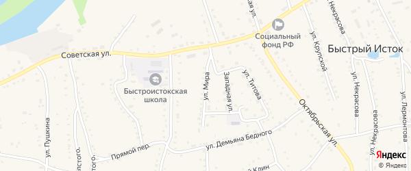 Улица Мира на карте села Быстрого Истока с номерами домов