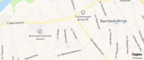 Улица Титова на карте села Быстрого Истока с номерами домов