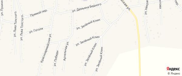Улица Зеленый клин на карте села Быстрого Истока с номерами домов