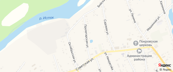 Пролетарская улица на карте села Быстрого Истока с номерами домов