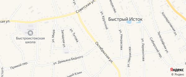 Октябрьская улица на карте села Быстрого Истока с номерами домов