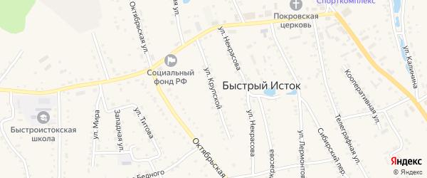 Улица Крупской на карте села Быстрого Истока с номерами домов
