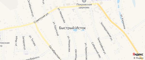 Улица Островского на карте села Быстрого Истока с номерами домов