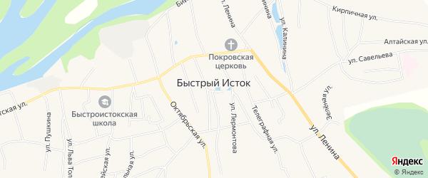 Карта села Быстрого Истока в Алтайском крае с улицами и номерами домов