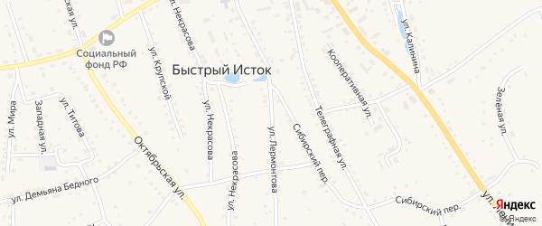 Улица Лермонтова на карте села Быстрого Истока с номерами домов