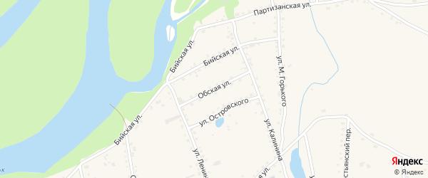 Обская улица на карте села Быстрого Истока с номерами домов
