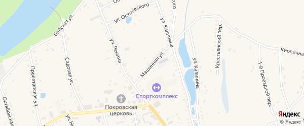 Машинная улица на карте села Быстрого Истока с номерами домов