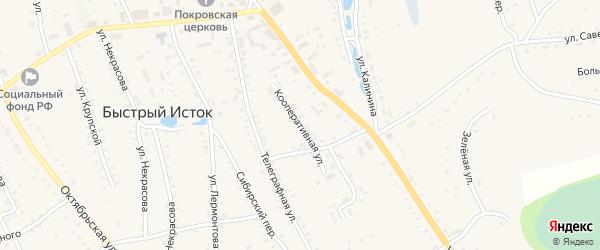 Кооперативная улица на карте села Быстрого Истока с номерами домов