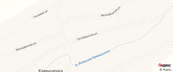 Октябрьская улица на карте села Камышенки с номерами домов