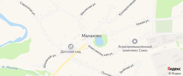 Партизанская улица на карте села Малахово с номерами домов