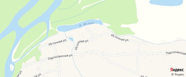 Источная улица на карте села Быстрого Истока с номерами домов