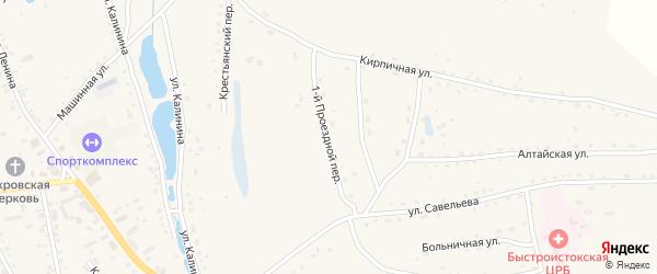 Проездной 1-й переулок на карте села Быстрого Истока с номерами домов